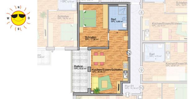 Wohnung 12 - Grundrissplan Servicewohnen Blumberg
