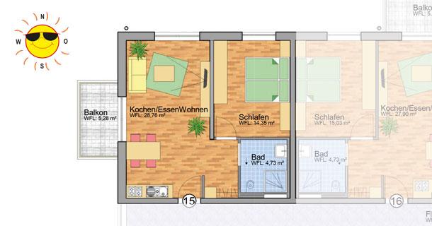 Wohnung 15 - Grundrissplan Servicewohnen Blumberg