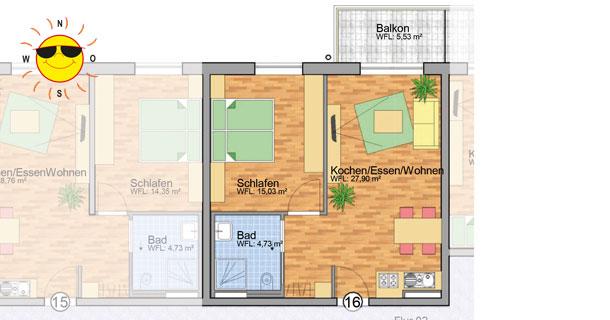 Wohnung 16 - Grundrissplan Servicewohnen Blumberg
