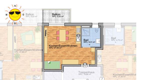 Wohnung 17 - Grundrissplan Servicewohnen Blumberg