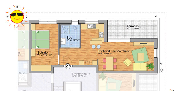 Wohnung 23 - Grundrissplan Servicewohnen Blumberg