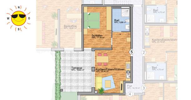Wohnung 5 - Grundrissplan Servicewohnen Blumberg