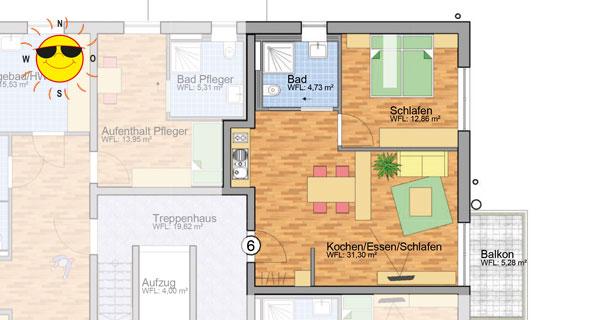 Wohnung 6 - Grundrissplan Servicewohnen Blumberg