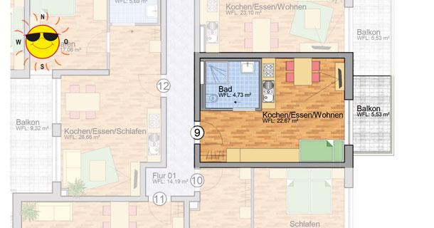 Wohnung 9 - Grundrissplan Servicewohnen Blumberg