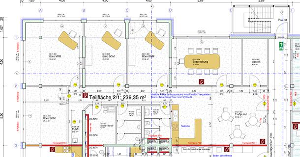 2. OG, 236qm, Grundriss freie Mietfläche im Gesundheits- und Dienstleistungszentrum Villingen-Schwenningen